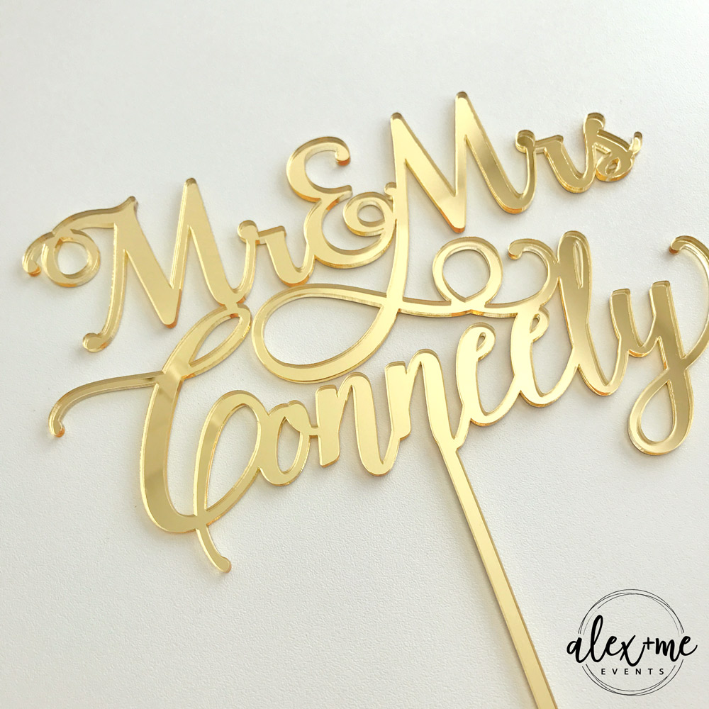 Cake Toppers - Mr & Mrs Personalised | Alex & Me