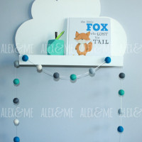 Felt Ball Garland Mint Grey Blue White