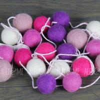 Felt Ball Garland Pink White Purple