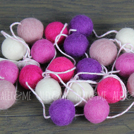 Felt Ball Garland Pink White Purple