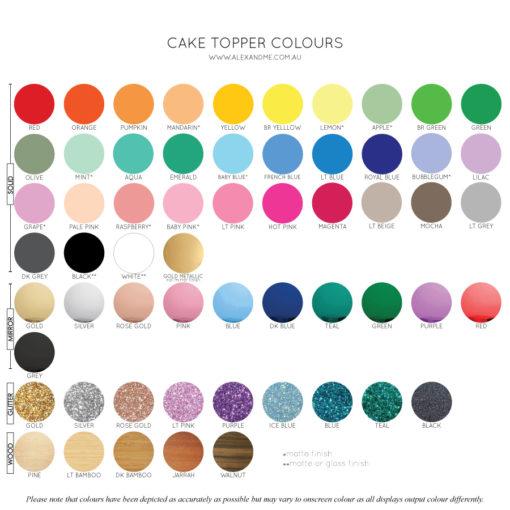 Cake Topper Colours