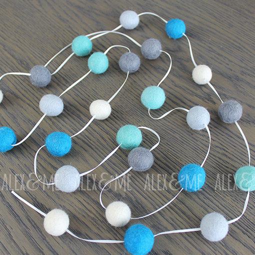 Felt Ball Garland Mint Grey Blue