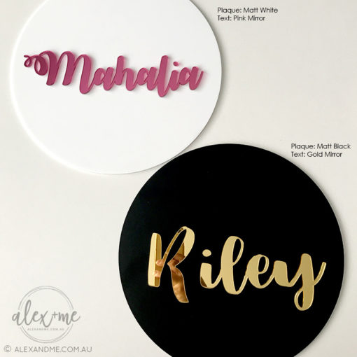Personalised round name plaque