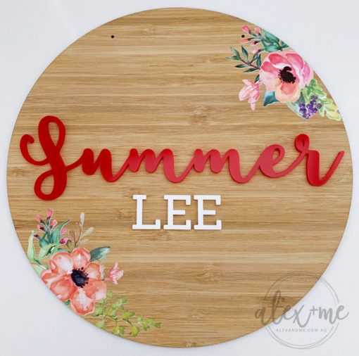Floral Kids Name Plaque