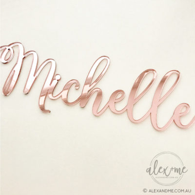 rose gold acrylic mirror name