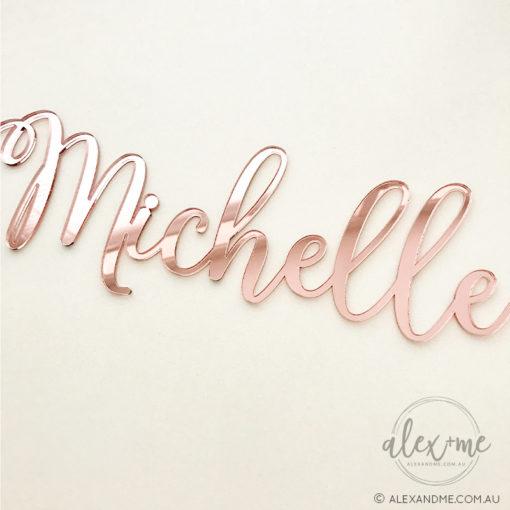 rose gold acrylic mirror name