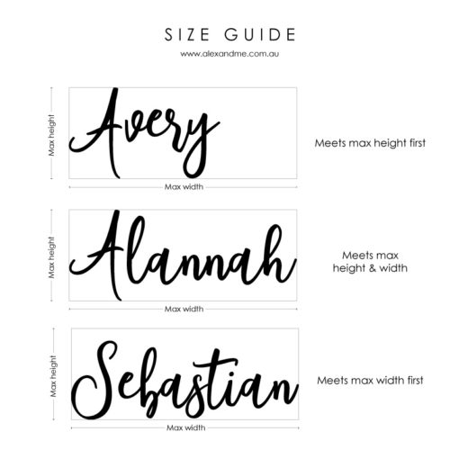 Name Plaque size guide