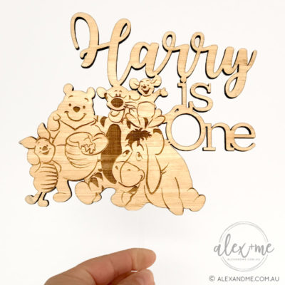 Wood cake topper bear